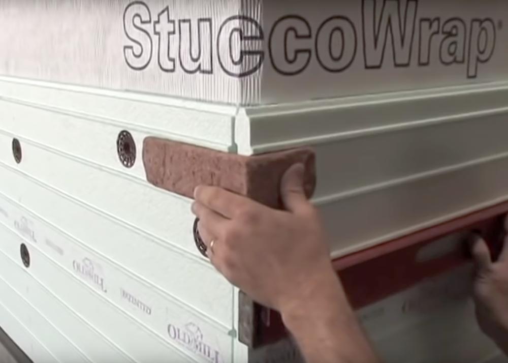 Use a corner brick to line up your corner edges.