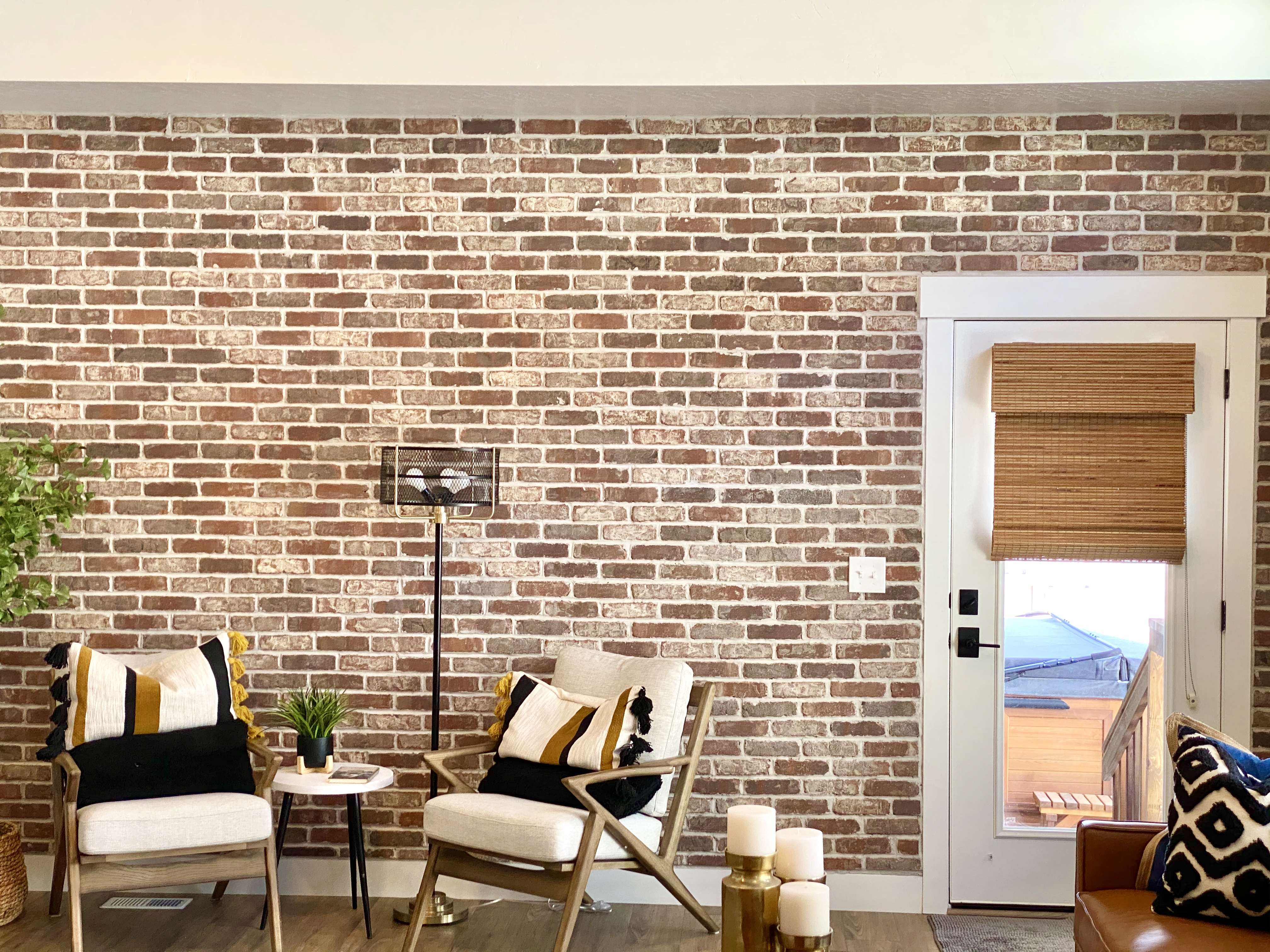 Brickwebb accent wall by Lou & Vicky Arne. Color: Boston Mill by Old Mill Brick