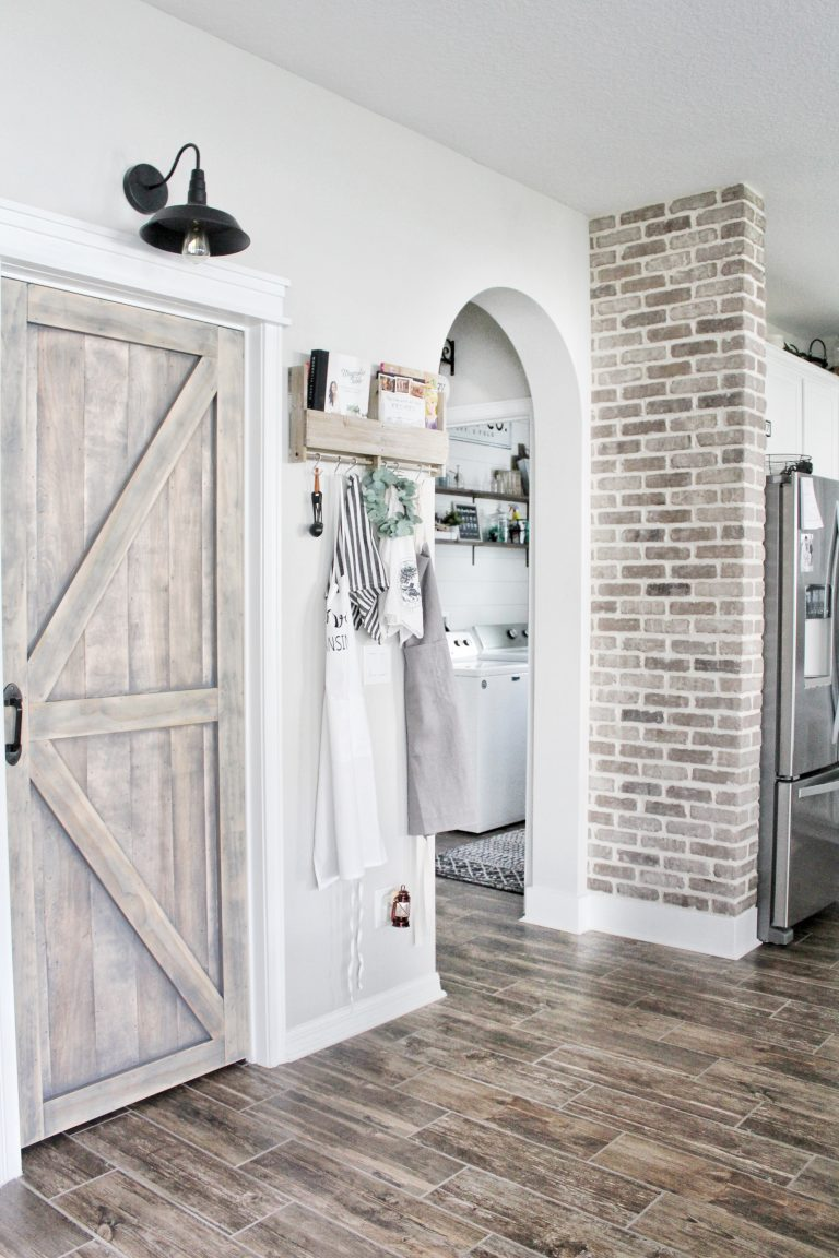 Brickwebb Accent Wall: See How the Newbuild Newlyweds Used Old Mill Brick to Make a Statement in Their Kitchen.